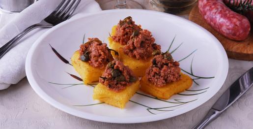 Quadrati di polenta con fagiano