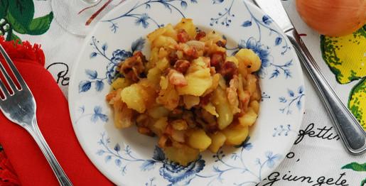 Patate e pancetta in tecia