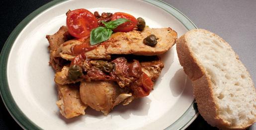 Pollo con pomodorini e capperi