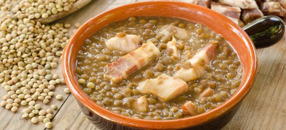Zuppa di lenticchie e pancetta